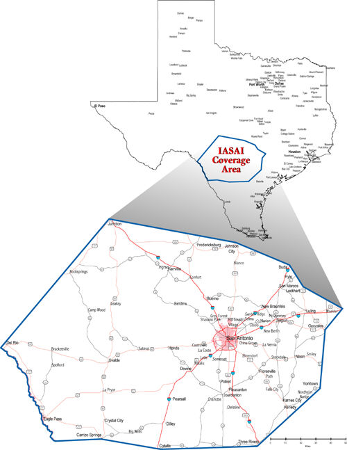 Map of Service Area - San Antonio and Surrounding Area